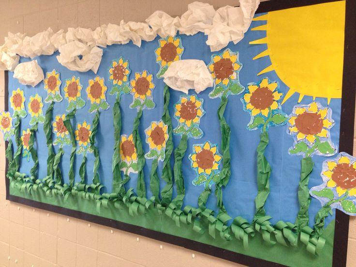 Fun sunflower bulletin board for Kansas Day.