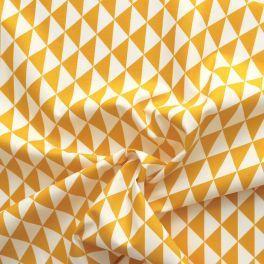Katoen cretonne bedrukt met gele en witte driehoekjes