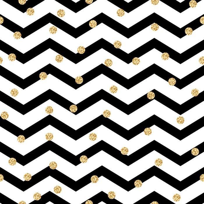 Papier Peint Vinyle Chevron Zigzag Noir Et Blanc Motif Sans Couture Avec  Pois Dorés à Pois