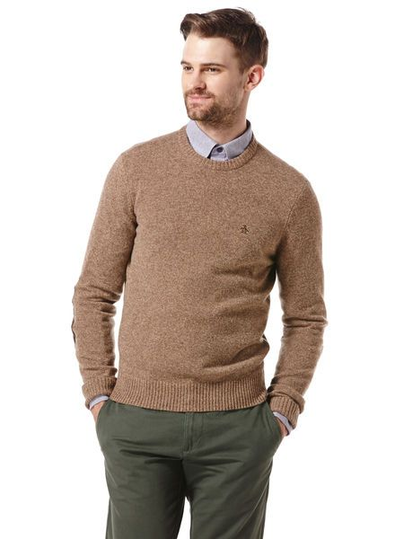 Original Penguin Long Sleeve Crew Neck Sweater with Suede Elbow Patches in Olive Melange