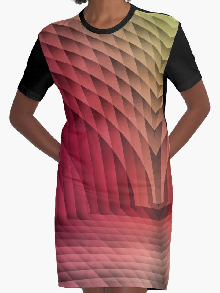 Geometric Path Magenta-Gold  Graphic T-Shirt Dresses by TC-TWS