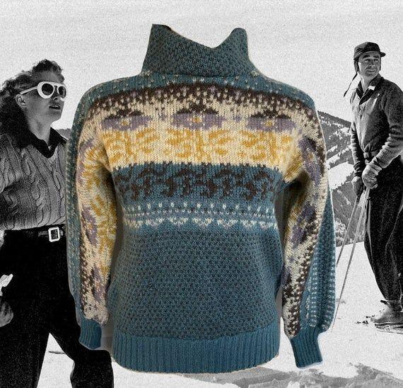 Vintage Nordic Alpine Wool Womens Red White Blue Sweater Size Medium