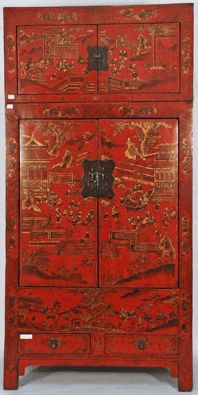 Antique Asian Furniture: Rare Antique Chinese Cabinet With Matching Painted  Trunk From Shanxi Province,