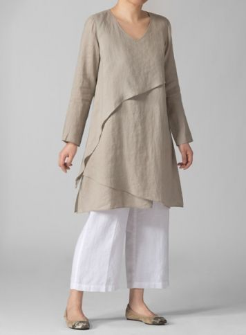 Vivid Linen Layering V-neck Tunic Set