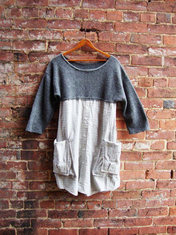 Sweater Dress/ Tunic Dress/Artisan Smock Dress/Gray Dress/Pocket Dress/ Upcycled Clothing