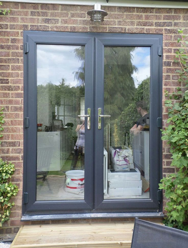 Dark grey French doors