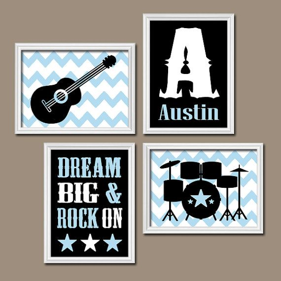 GUITAR Wall Art, Music Theme, Baby BOY Nursery Decor, Big Boy Bedroom,