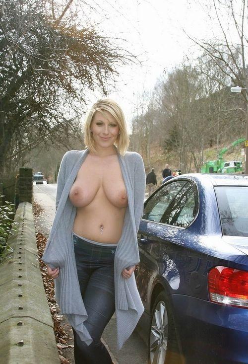 In boobs public flashing mature ladies