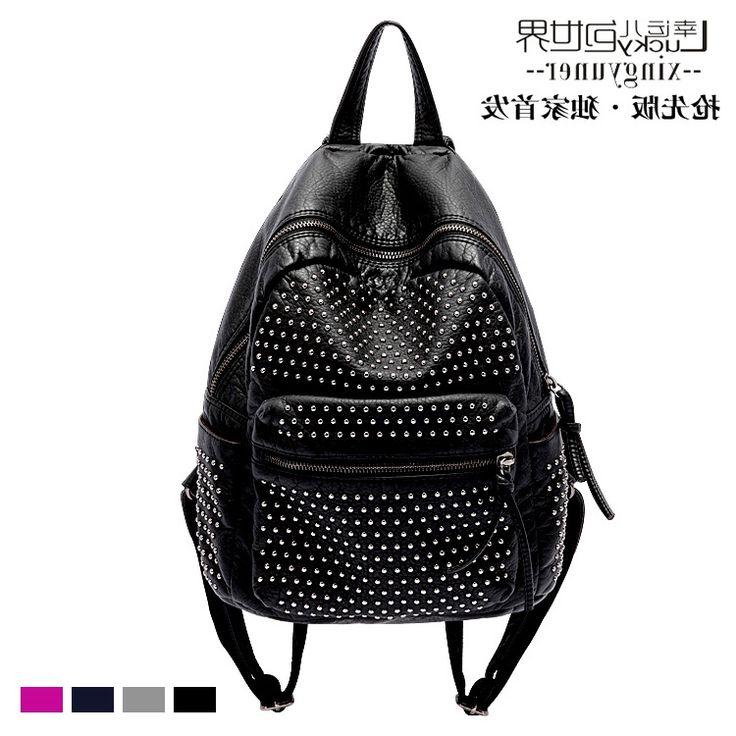 36.99$  Buy now - https://alitems.com/g/1e8d114494b01f4c715516525dc3e8/?i=5&ulp=https%3A%2F%2Fwww.aliexpress.com%2Fitem%2F2015-rivet-backpacks-backpack-school-bags-new-real-women-pu-leather-clutch-purse-evening-bag%2F32372034712.html - Rivet Preppy Style University Students Backpacks 5 Color Fashion Girls Backpack PU Leather Women Mochila Bolsa Lady Backpack