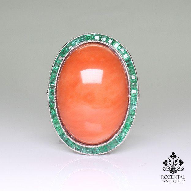 Antique Art Deco Platinum Diamond – Coral & Emerald Ring – Rozental Antiques (hva)