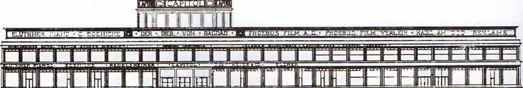 Berlin, Hardenbergstraße, Fasdadenskizze, Kino Capitol, Hans Poelzig, 1925.