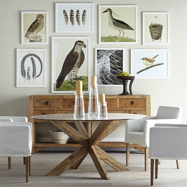 Love the arrangement of this gallery wall with bird printscrappy house news, a beautiful gallery wall, and drool-worthy blue and white styled shelves from Driven by Decor
