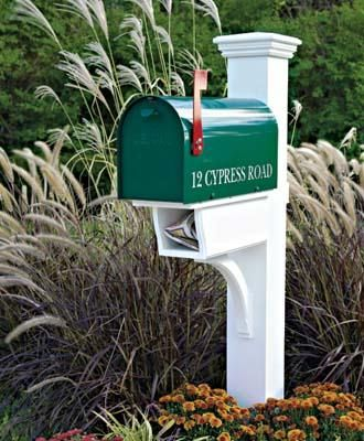 """Twin Star Mail Post - This 5 1/2"""" sq. post serves double duty holding your mailbox and newspaper. Crafted in cedar and cellular vinyl."""