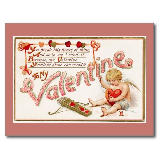 Cupid Mending Heart To My Valentine Pink Postcard - #zazzle