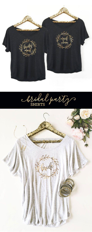 Camisas de Dama de honor guirnalda de oro novia por ModParty