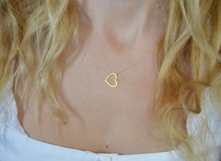 Open heart necklace steling silver,10K or 14K solid gold. Available in rose , yellow and platinum. by Gvantsasfinedesigns on Etsy