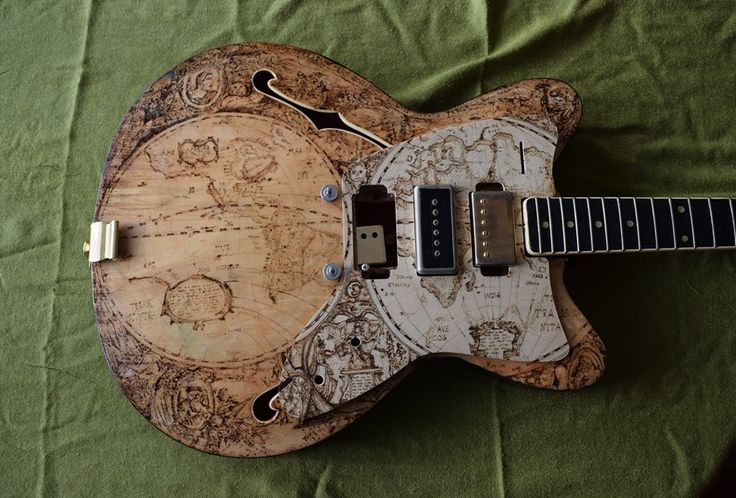 Guitar map XVII century, hand pyrographed by PsujekArts