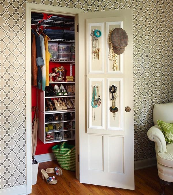 Small Closet Organization    Jewelry Hanging On Back Of Door.