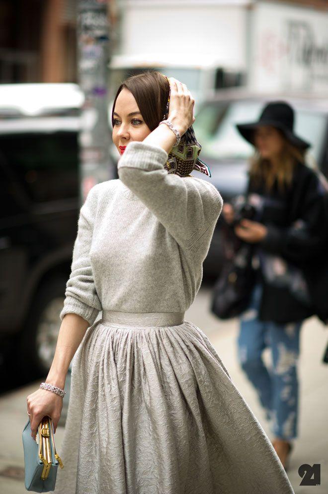 Vintage: Full Skirts, Fashion, Sweaters Dresses, Street Style, Style Icons, Styles, Grey Dresses, Ulyanasergeenko, Ulyana Sergeenko