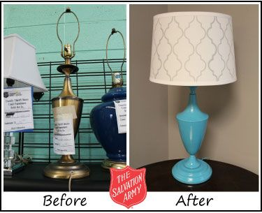 Project Thrifty Office | Lamp: $5 at Salvation Army Thrift Store (3300 Moffett Road, Mobile, AL). Spray painted blue, stenciled with a silver paint pen onto a blank shade & this lamp is too cute now!