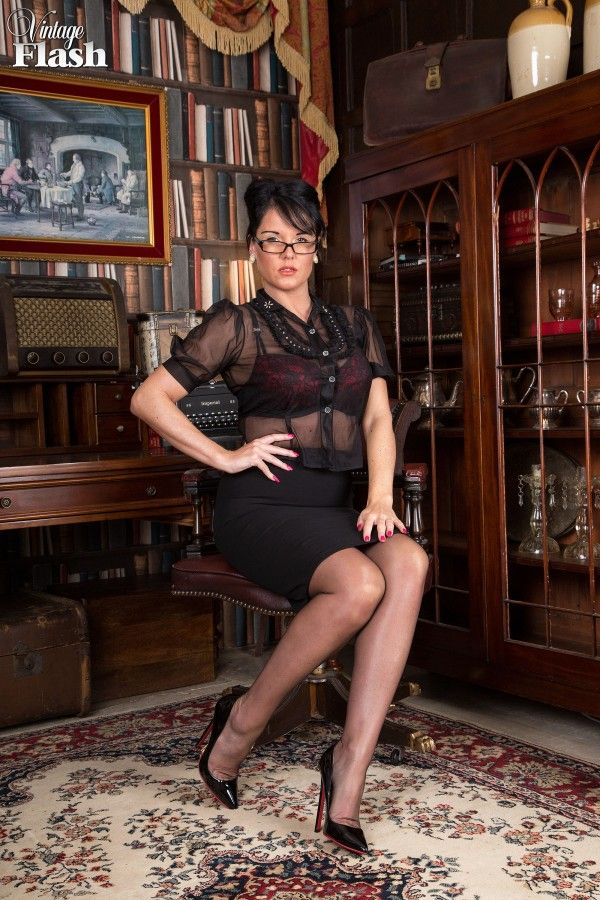 Women wearing vintage slips and nylons