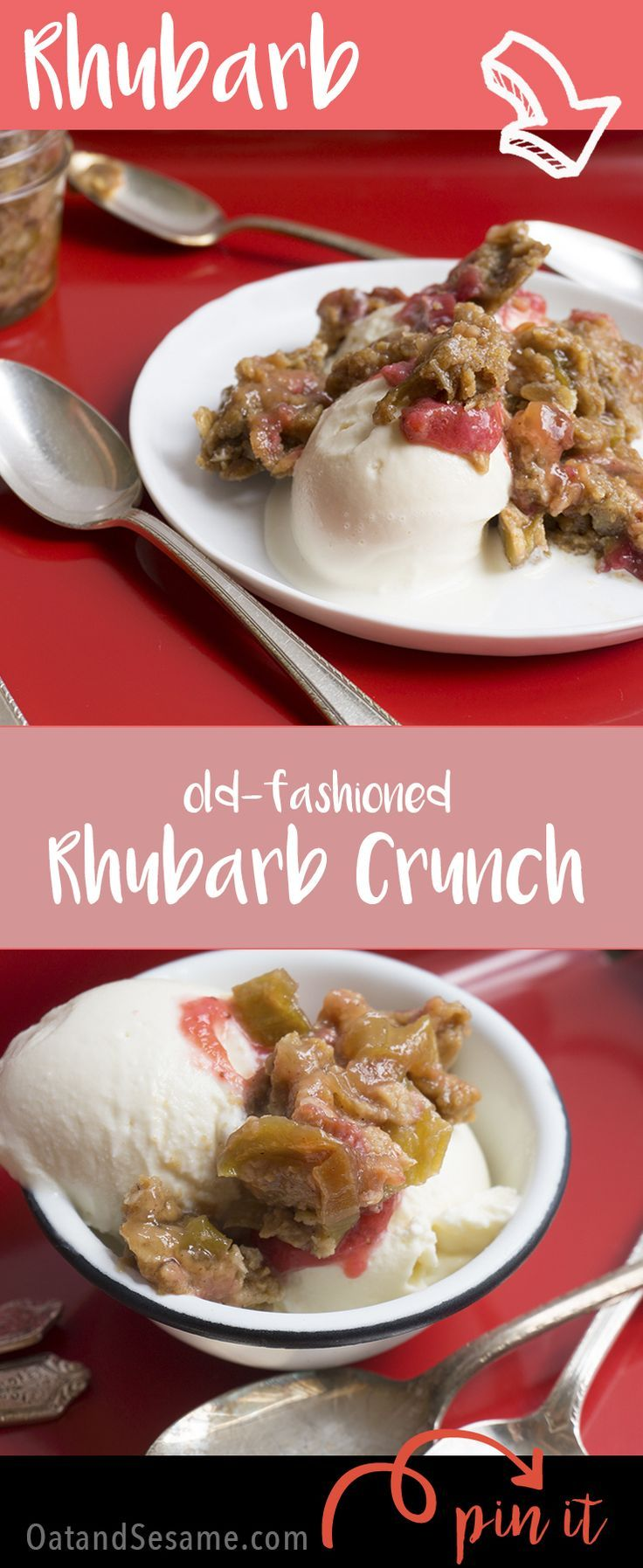 Old-Fashioned Rhubarb Crunch - a family recipe that's great over ice cream! | Recipe at OatandSesame.com