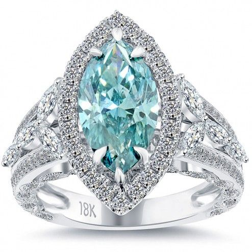 4.10 Carat Fancy Blue Marquise Cut Diamond Engagement Ring 18k Vintage Style
