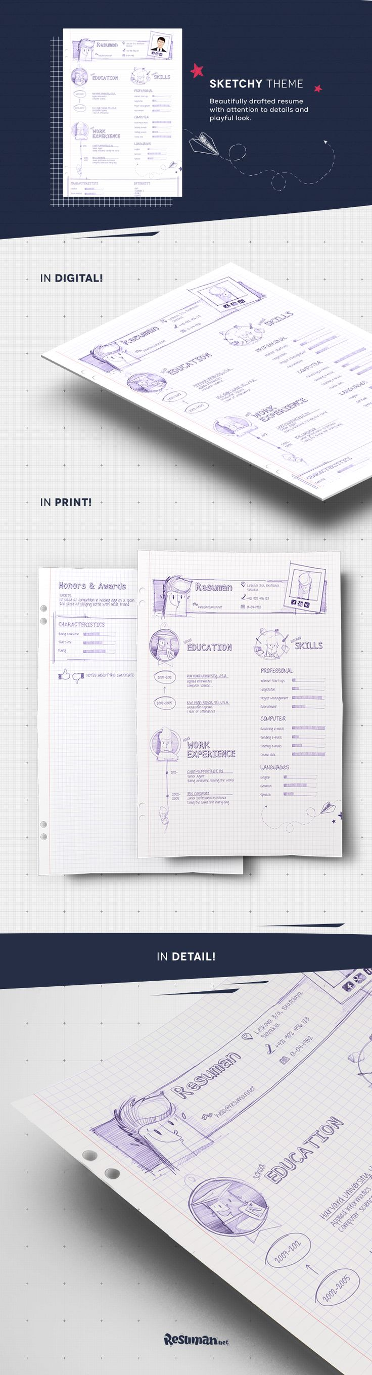 Handwritten resume? Why not?! After all, this might be the best way to create an impression you really took your time mastering your resume. Don't worry, we won't tell anyone that with resuman.net you were able to create such design in just few minutes.