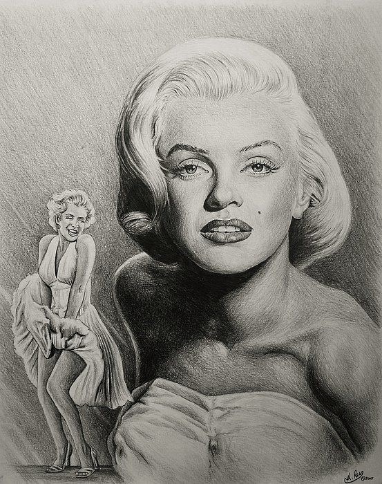 Hollywood greats - Marilyn Monroe Graphite drawing 20x16 Sold to an Australian customer. Prints available