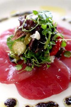 Tuna Carpaccio - just had it topped with beautiful crab meat... Yum.