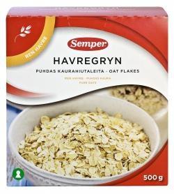 Semper glutenfrie havregryn. Bruker disse både i matlaging, i müsli og som de er med plantemelk og bær på. Finnes i de fleste dagligvarebutikker og i helsekostbutikker.