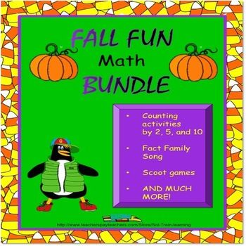 """Get this awesome bundle for 20% in our store plus 10% off at check out from TPT when you use promo code """"FB100K"""" October 12-14. We've included lots of great classwork and activities to help your kids learn while having fun.  Included are scoot games for addition and subtraction,activities for counting by 2's,5's and 10's. There is even a fun fact family song.  #Fall#Math#counting by 2's,5's and 10's#scoot games#TPT#learning#education"""