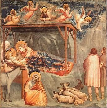 This is a late Gothic artwork showing the birth of Jesus in a stable around animals and worshippers (kings).