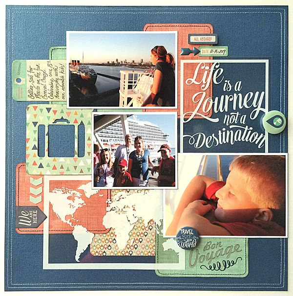 HELLO WORLD Travel Collage Layout with photo overlay transparencies - My Mind;s Eye by Tamara Jensen