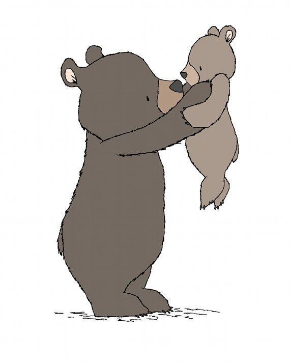 Woodland Nursery Art -- Safe In My Arms -- Mama and Baby Bear -- Bear Woodland…