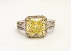 2.55 carat fancy yellow diamond ring with a GIA certificate for fancy yellow and set in 18carat yellow gold from Anthea AG Antiques