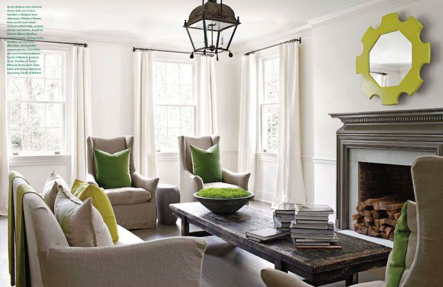 :)Kay Douglass, Livingroom, Interiors, Green, Colors, Sophisticated Style, Living Room, Club Chairs, Design