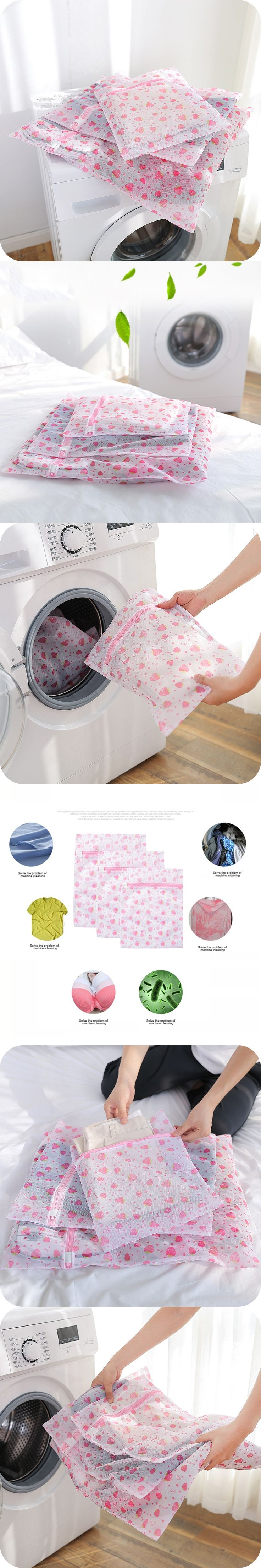 Women Printing Nylon Hosiery Bra Underwear Lingerie Washing Bag Protecting Mesh Aid Laundry Saver Laundry Bags Baskets