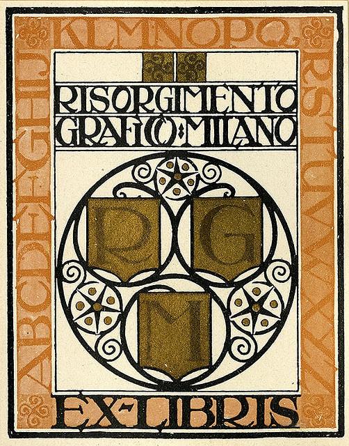 Italian vintage bookplate. #Ex-líbris da revista italiana Risorgimento Grafico   Colecção Pratt Librarie #exlibris
