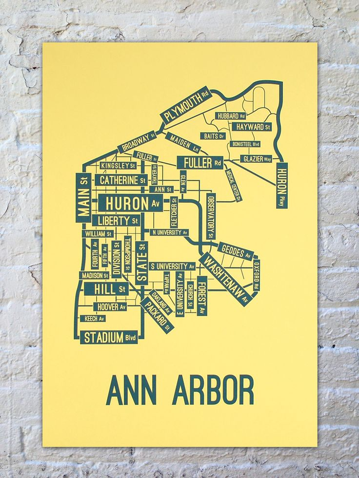 Ann Arbor, Michigan Street Map Poster--LOVE this!  And all the most important streets to me are highlighted! :)