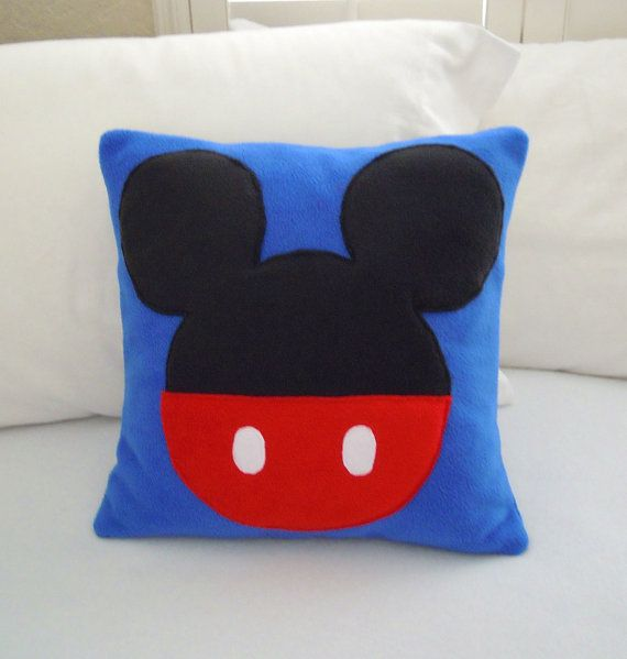 Mickey Mouse Fleece Throw Pillow Disney by PatternsOfWhimsy
