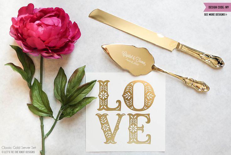 Personalized Gold Wedding Cake Knife and Server Set - (2pc) Custom Engraved Classic Gold Cake Knife and Server - Personalized Wedding Gift by LetsTieTheKnot on Etsy https://www.etsy.com/listing/231470921/personalized-gold-wedding-cake-knife-and