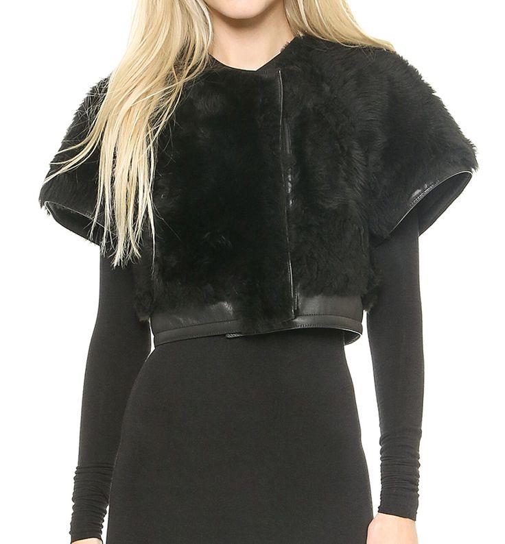Short Sleeve Faux Fur Bolero Jacket