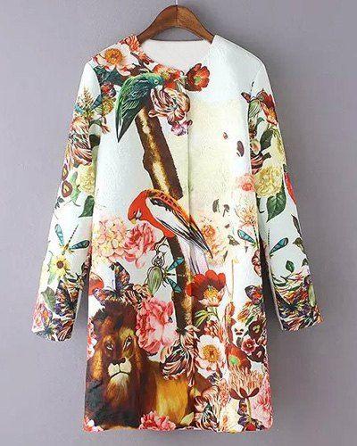 Stylish Women's Round Neck Animals Pattern Long Sleeve Coat