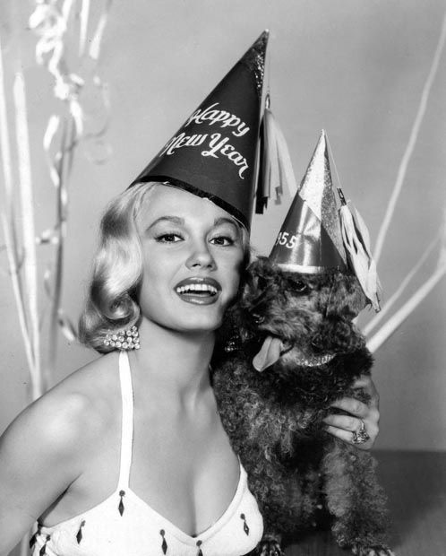 happy new year from mamie van doren | 1954 | #vintage #1950s #newyear