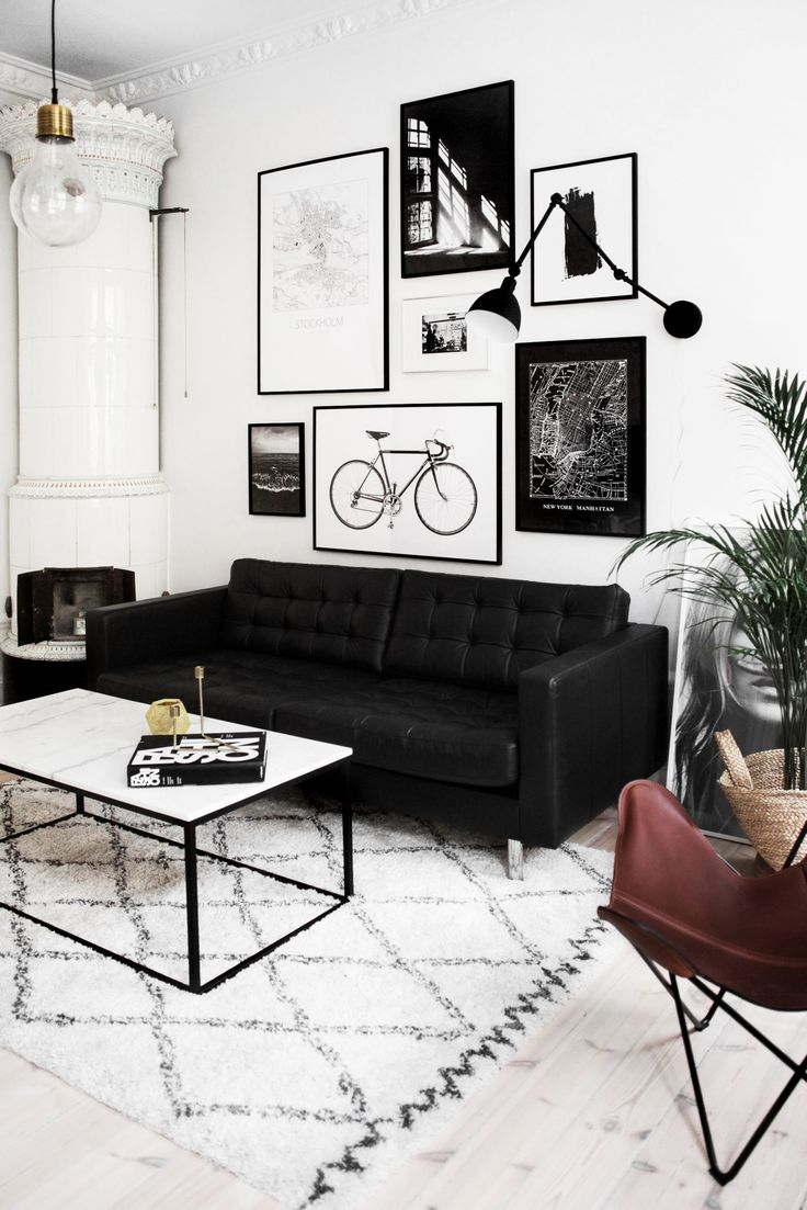 Small Modern Living Room, Black Couch, Brass Lighting, Black And White Art Part 84