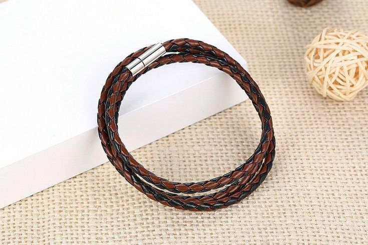 BAMOER Cheap Wholesale Fashion Men Leather Bracelet 100% Brand New Trendy Bracelets with Magnet Clasp PI0063-5