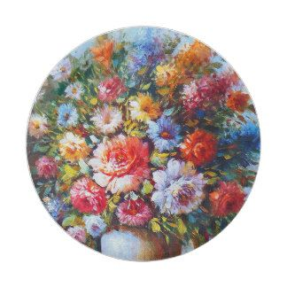 Vintage Floral Bright Country Flowers Painting Paper Plate