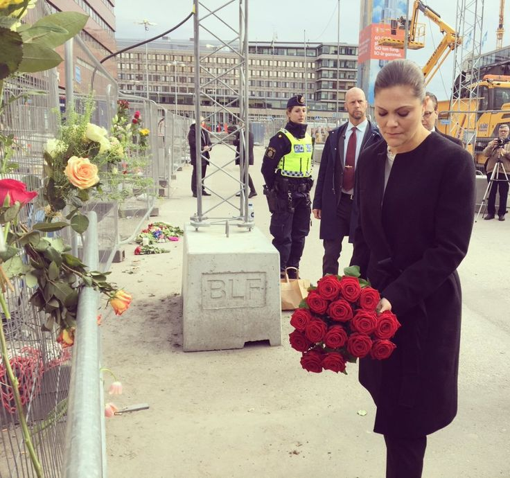 9 April 2017 - Princess Victoria and Prince Daniel visit the scene of terror attack in Stockholm