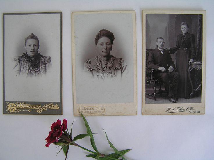 3 zeer oude foto's van 2 dames en een echtpaar. +/-  1900 Gemaakt door Henricus Jacobus Tollens te Dordrecht. Antieke, Originele foto's. by Dutch2like on Etsy
